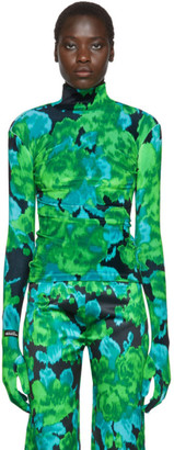 Richard Quinn Green Floral Turtleneck