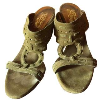 Salvatore Ferragamo Green Suede Sandals