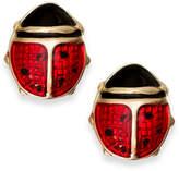 Macy's Red Enamel Ladybug Stud Earrings in 10k Gold