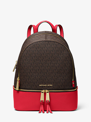MICHAEL Michael Kors MK Rhea Medium Logo and Pebbled Leather Backpack - Brn/brt Red - Michael Kors