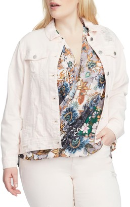 Rachel Roy Destroyed Denim Jacket (Plus Size)