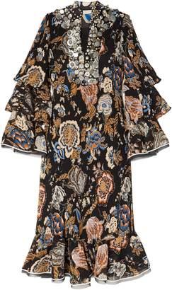 Tory Burch Embellished Printed Plisse Georgette Midi Dress