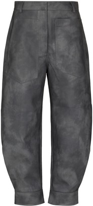 Tibi Tie-Dye Tapered-Leg Cropped Trousers
