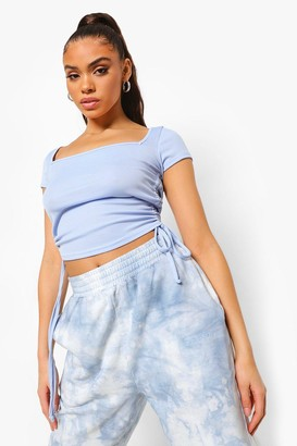 boohoo Square Neck Rib Ruched Crop Top