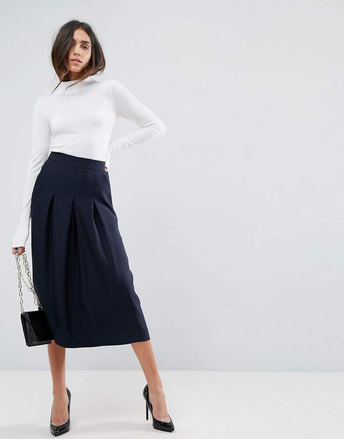 Design Tailored Clean Column Skirt With Pleats