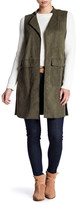 1 STATE 1.State Sleeveless Patch Pocket Faux Suede Long Vest