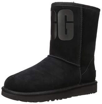 UGG Women's W Classic Short Rubber Logo Ankle Boots, Black (Black BLK), 9 (42 EU)