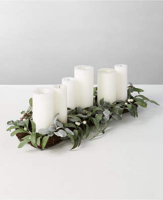 Martha Stewart Collection Silver Woods Artificial Mistletoe Candle Holder Centerpiece
