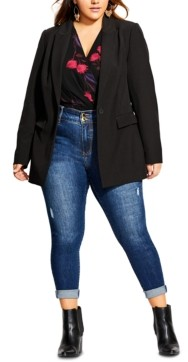 City Chic Trendy Plus Size Simply Suited One-Button Jacket