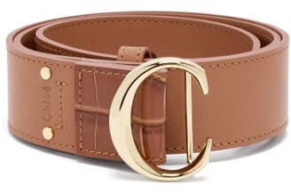Chloé C-buckle Leather Belt - Womens - Pink