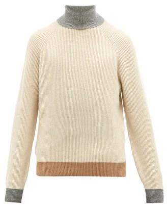 Brunello Cucinelli Contrast Edge Roll Neck Cashmere Sweater - Mens - Beige