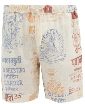 Desmond & Dempsey The Market Linen Pyjama Shorts - Cream Multi