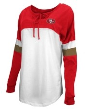 5th & Ocean San Francisco 49ers Women's Lace Up Long Sleeve T-Shirt