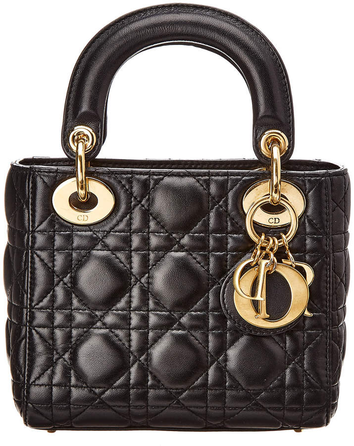 Christian Dior Black Lambskin Leather Small Lady