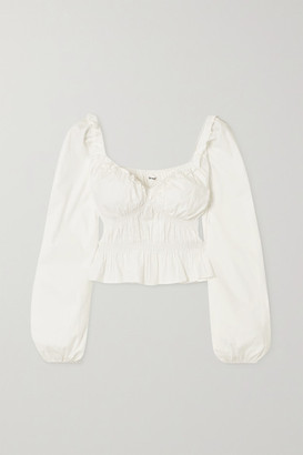 Reformation Net Sustain Fern Ruffled Gathered Stretch Organic Cotton-poplin Peplum Top - White