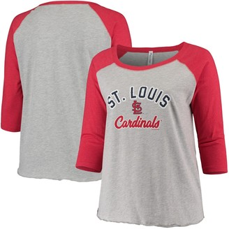 Women's Soft as a Grape Heathered Gray/Red St. Louis Cardinals Plus Size Baseball Raglan 3/4-Sleeve T-Shirt