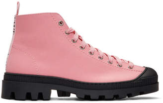 Loewe Pink and Black Canvas Lace-Up Boots