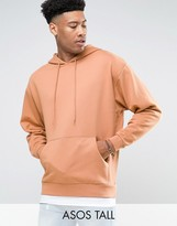 Asos Tall Oversized Hoodie In Pink With T-shirt Hem