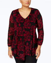 Alfani Plus Size Printed V-Neck Blouse, Created for Macy's