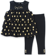 Juicy Couture Black & Gold Polka Dot Tunic & Leggings - Infant