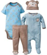 Gerber 4-Piece Monkey Sleep N' Play, Onesies® Bodysuit, Pant, and Cap Set in Blue