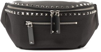 Valentino Rockstud-embellished Canvas Belt Bag - Black
