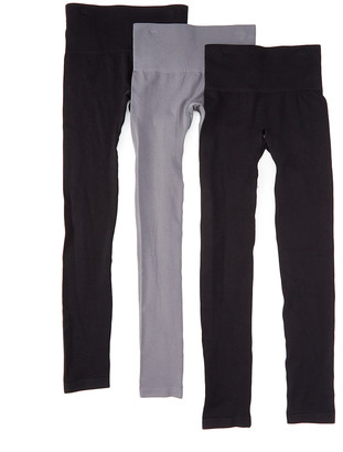 Body Beautiful Women's Leggings 2/black-1/grey - Black & Gray Shaper Leggings Set - Women