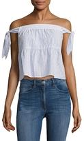 BCBGMAXAZRIA Cotton Off Shoulder Tied Top