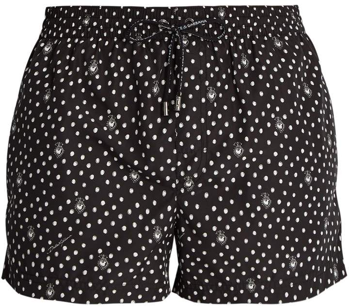 Dolce & Gabbana Polka-dot heart-print swim shorts