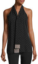 Michael Kors Beaded Silk Sleeveless Tie-Neck Top, Black/Silver