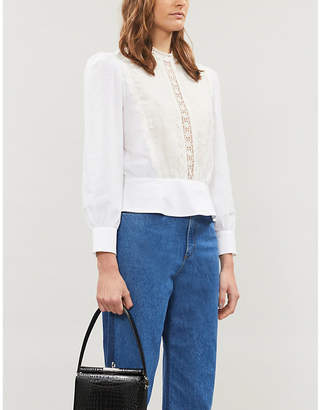 Sandro Gala crochet cotton-blend blouse
