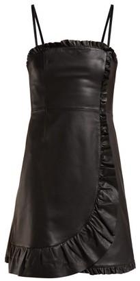 ALEXACHUNG Ruffle-trimmed Leather Mini Dress - Black