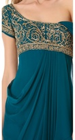 Marchesa Gold Embroidered Bodice Dress