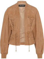 Balmain Lace-up Suede Jacket - Sand