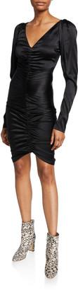 Caroline Constas Colette Ruched Long-Sleeve Cocktail Dress