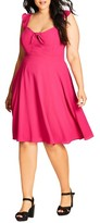 City Chic Plus Size Women's Pretty Flutter Tie Neck Dress
