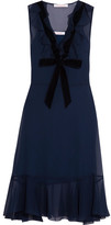 See by Chloe Velvet-trimmed Ruffled Chiffon Dress - Navy