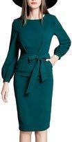 Lettre d'amour Women's Elegant Long Sleeve Bodycon Dress With Belt XL
