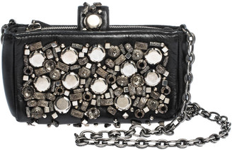 Chanel Black Leather Embellished Phone Holder Chain Clutch