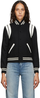 Saint Laurent Black and Off-White Teddy Bomber Jacket