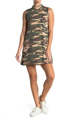 Cotton Emporium Camo Print Mock Neck Tank Dress
