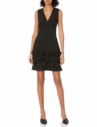 Nicole Miller Women's Sleeveless 3D Ruffle Hem Shift Dress Black 4