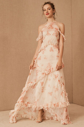 BHLDN Therese Floral Maxi Dress By in Pink Size 16