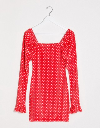 I SAW IT FIRST velvet mini dress in polka dot