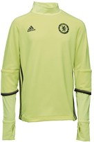 adidas Junior CFC Chelsea 3 Stripe Long Sleeve Mock Neck Training Top Solar Yellow/Black/Granite