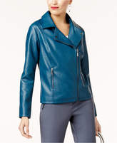 Alfani Petite Faux-Leather Moto Jacket, Created for Macy's