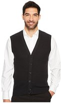 Perry Ellis Men's Solid Textured Button Front Sweater Vest