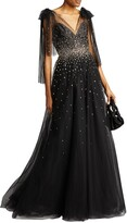Thumbnail for your product : Monique Lhuillier Embroidered Tulle V-Neck Gown
