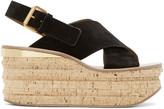 Chloé Black Camille Wedge Sandals