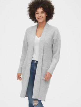 Gap Waffle-Knit Longline Cardigan Sweater
